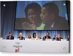 President And Michelle Obama Answer Acrylic Print by Everett