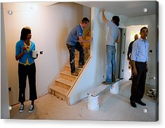 President And Michelle Obama Help Paint Acrylic Print by Everett