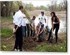 President And Michelle Obama Help Plant Acrylic Print by Everett