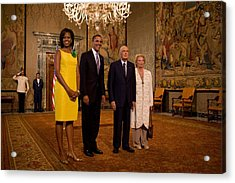 President And Michelle Obama Meet Acrylic Print by Everett
