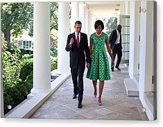 President And Michelle Obama Walk Acrylic Print by Everett