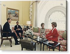 President And Nancy Reagan Having Tea Acrylic Print by Everett