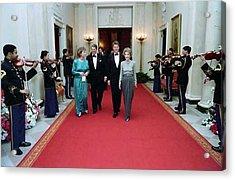 President And Nancy Reagan Walking Acrylic Print by Everett