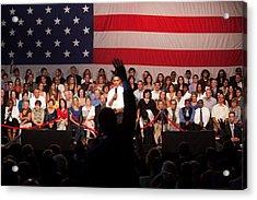 President Barack Obama Answers Acrylic Print by Everett