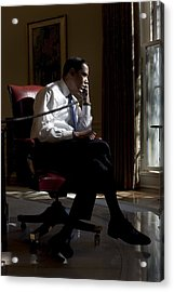 President Barack Obama At His Oval Acrylic Print by Everett