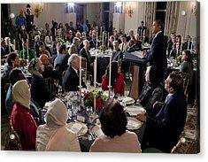 President Barack Obama Delivers Remarks Acrylic Print by Everett