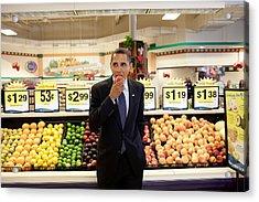 President Barack Obama Eats A Peach Acrylic Print by Everett