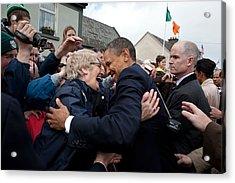President Barack Obama Greets A Local Acrylic Print by Everett