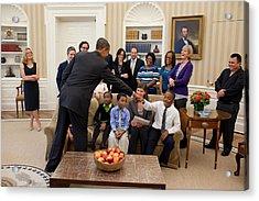 President Barack Obama Greets Students Acrylic Print by Everett