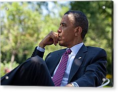 President Barack Obama Is Briefed Acrylic Print by Everett