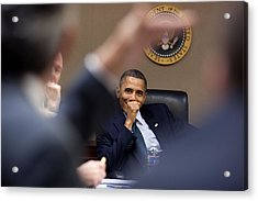 President Barack Obama Laughs Acrylic Print by Everett