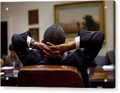 President Barack Obama Leans Back Acrylic Print by Everett