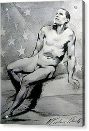 President Barack Obama Nude Study Acrylic Print by Karine Percheron-Daniels