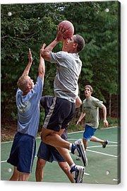 President Barack Obama Plays Basketball Acrylic Print by Everett