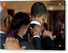 President Barack Obama Prays Acrylic Print by Everett