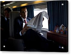 President Barack Obama Reading Acrylic Print by Everett
