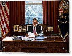 President Barack Obama Reviews Acrylic Print by Everett