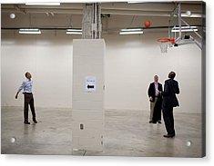 President Barack Obama Shoots Baskets Acrylic Print by Everett