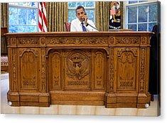 President Barack Obama Sits Acrylic Print by Everett