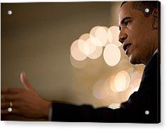 President Barack Obama Speaks Acrylic Print by Everett