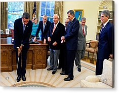 President Barack Obama Takes A Practice Acrylic Print by Everett