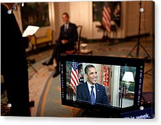 President Barack Obama Tapes The Weekly Acrylic Print by Everett