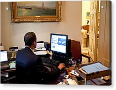 President Barack Obama Tests The New Acrylic Print by Everett
