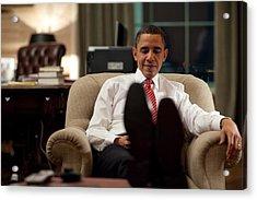 President Barack Obama Using Acrylic Print by Everett