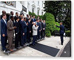 President Barack Obama Waves To Coach Acrylic Print by Everett