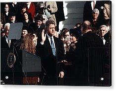 President Bill Clinton Takes The Oath Acrylic Print by Everett