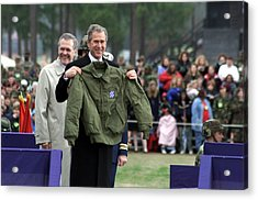 President Bush Displays A Jacket Given Acrylic Print by Everett