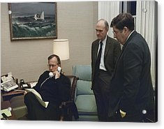 President George Bush In A Telephone Acrylic Print by Everett