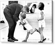 President John Kennedy Is Greeted Acrylic Print by Everett