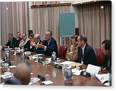 President Johnson Meeting With The Us Acrylic Print by Everett