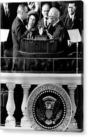 President Johnson Takes The Oath Acrylic Print by Everett