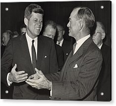 President Kennedy Talking With Arkansas Acrylic Print by Everett