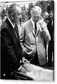 President Lyndon Johnson Gives German Acrylic Print by Everett