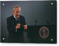 President Lyndon Johnson In An Emphatic Acrylic Print by Everett