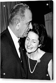President Lyndon Johnson Kisses Acrylic Print by Everett