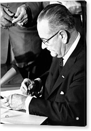 President Lyndon Johnson Signing Acrylic Print by Everett
