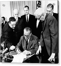 President Lyndon Johnson Signs The 24th Acrylic Print by Everett