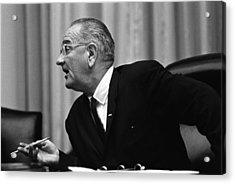 President Lyndon Johnson Speaking Acrylic Print by Everett