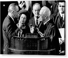 President Lyndon Johnson Takes The Oath Acrylic Print by Everett