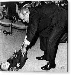 President Lyndon Johnson Tugs The Legs Acrylic Print by Everett