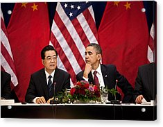 President Obama And Chinese President Acrylic Print by Everett