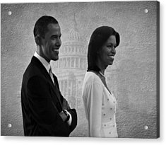 President Obama And First Lady Bw Acrylic Print