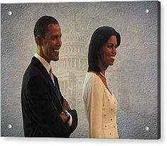 President Obama And First Lady Acrylic Print by David Dehner