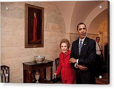 President Obama And Former First Lady Acrylic Print by Everett