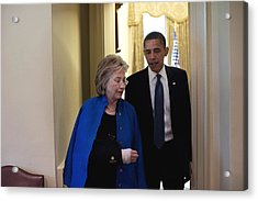 President Obama And Hillary Clinton Acrylic Print by Everett