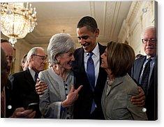 President Obama Embraces Health Acrylic Print by Everett